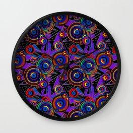 Ragged Neon Bubble Pattern Wall Clock