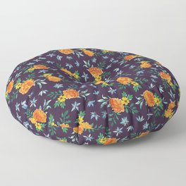 Dark Floral: Marigolds and Borage Floor Pillow