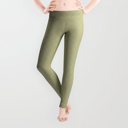 Sweet Pea Green on Earthy Green Parable to 2020 Color of the Year Back to Nature Angled Grid Pattern Leggings