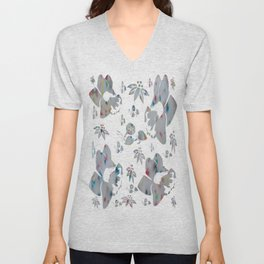Rainbow Speckle Flowers Waters Unisex V-Neck