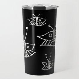Butterflies in Black Travel Mug