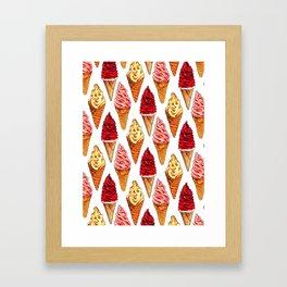 Ice Cream Pattern - Soft Serve Framed Art Print