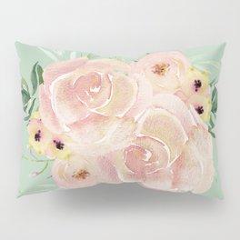 Wild Roses on Pastel Cactus Green Pillow Sham