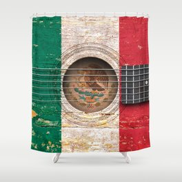 Old Vintage Acoustic Guitar with Mexican Flag Shower Curtain