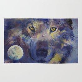 Grey Wolf Moon Rug