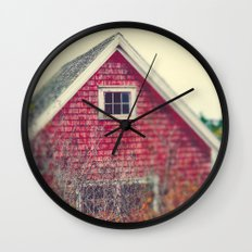 Red Coastal Cottage Wall Clock
