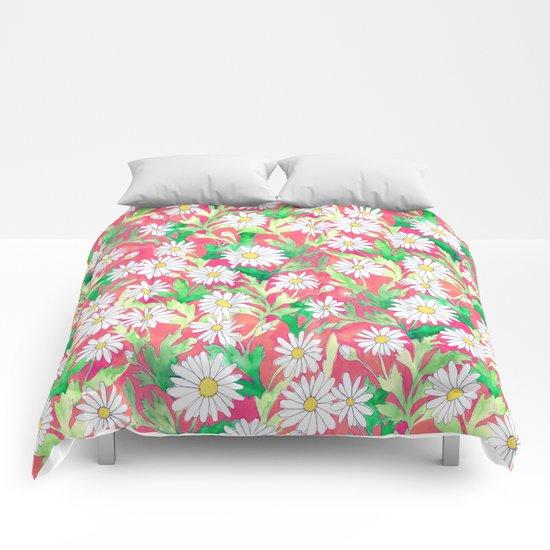 Sketchbook Daisies Coral Comforters