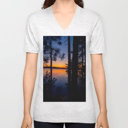 Northern Woods Sunset Unisex V-Neck