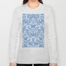 Blue Floral Seamless Pattern Long Sleeve T-shirt