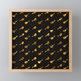Art Deco Petit Birds on Black Metallic Background Framed Mini Art Print