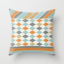 Retro 1980s Argyle and Stripes Geometric Throw Pillow