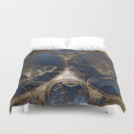 World Map Deep Blue and Gold Duvet Cover