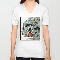 psychadelic V-neck T-shirts featuring Psychadelic Storm Trooper by Just Bailey Designs .com