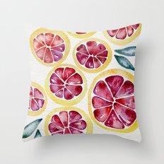 Sliced Grapefruits Watercolor Throw Pillow