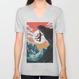 Rock Climbing Girl Vector Art Unisex V-Neck