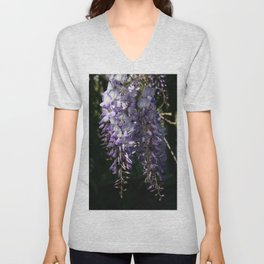 Wisteria With Garden Background Unisex V-Neck