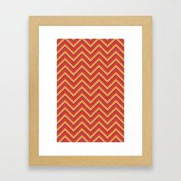 Chevron - Blue|Orange|Red Framed Art Print