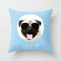 cheese Throw Pillows featuring CHEESE by Laura Maria Designs