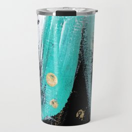 Fairy Dreams: an abstract mixed media piece in black, white, teal, and gold Travel Mug