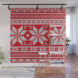 Winter knitted pattern 3 Wall Mural