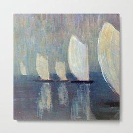 Sailboats on Mirrored Glass Seas nautical landscape by Mikalojus Konstantinas Ciurlionis Metal Print