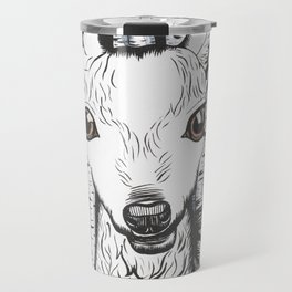 Ink and watercolor black and white doe/deer in the forest Travel Mug