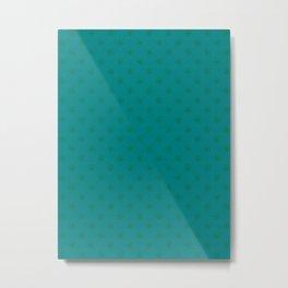 Cadmium Green on Teal Green Snowflakes Metal Print