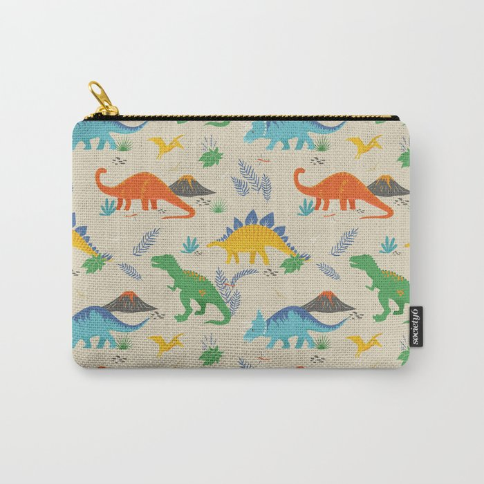 Jurassic Dinosaurs in Primary Colors Carry-All Pouch