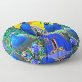 BLUE ROSES & BLUE GREEN PEACOCK FLORAL PATTERN Floor Pillow