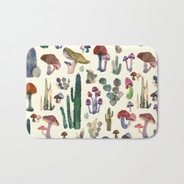 Cactus and Mushrooms Bath Mat