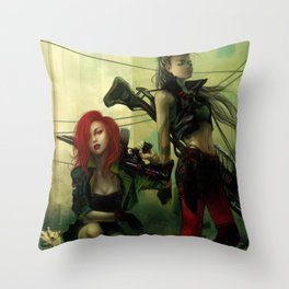 Hot pepper - Sci-fi soldier girls with weapons Throw Pillow