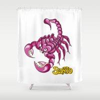 scorpio Shower Curtains featuring Scorpio by Antoons