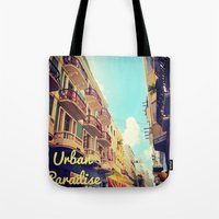 puerto rico Tote Bags featuring Colorful Puerto Rico  by Forgotten Charm