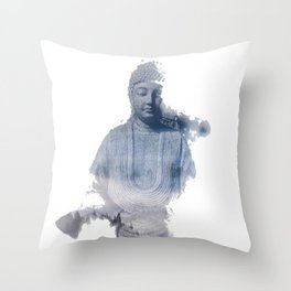 Buddha fading away Throw Pillow