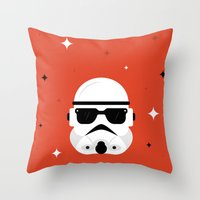 trooper Throw Pillows featuring Trooper by Bogdan Rosu