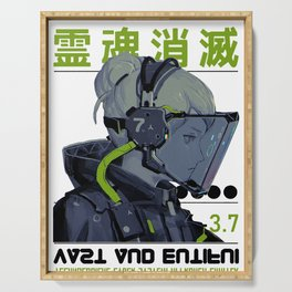 Space Gril Vaporwave Cyberpunk Kanji Pattern Urban Futuristic Style Serving Tray