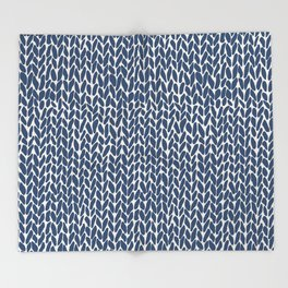 Hand Knit Navy Throw Blanket