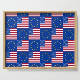 Mix of flag: USA and UE Serving Tray