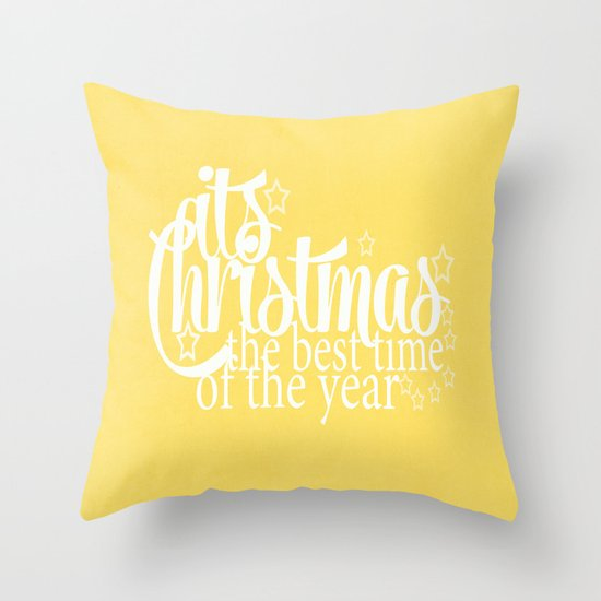Its Christmas {Gold} Throw Pillow