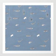 Shark Diving Art Print