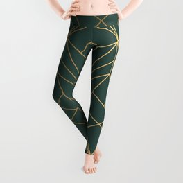 Olive Gold Geometric Pattern With White Shimmer Leggings