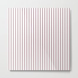 Princess Plum Pinstripe on White Metal Print