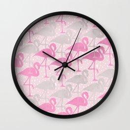 flamingos in pink and gray Wall Clock