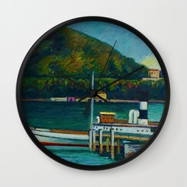 Jetty on Lake Iseo, Lombardy, Italy landsapce painting by Piero Marussig Wall Clock