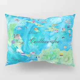 Caribbean Cruise Travel Poster Map Antilles West Indies Cuba Florida Pillow Sham