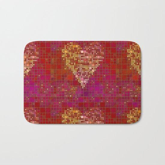 red Love heart tile illustration Bath Mat