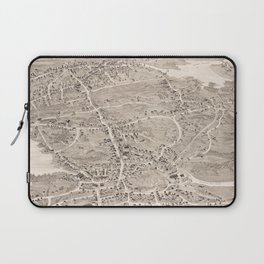 Vintage Pictorial Map of Weymouth MA (1880) Laptop Sleeve