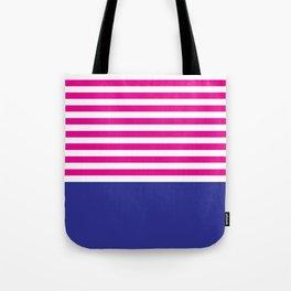 Stripes - Indigo & Pink Tote Bag