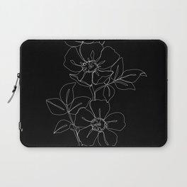 Botanical illustration one line drawing - Rose Black Laptop Sleeve