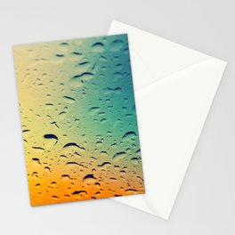 Rain drops on the glass. Multicolored. Stationery Cards